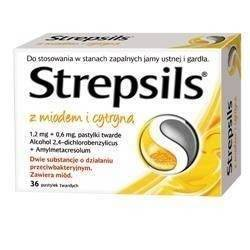 Strepsils miód/cytryna x 36 pastyl.